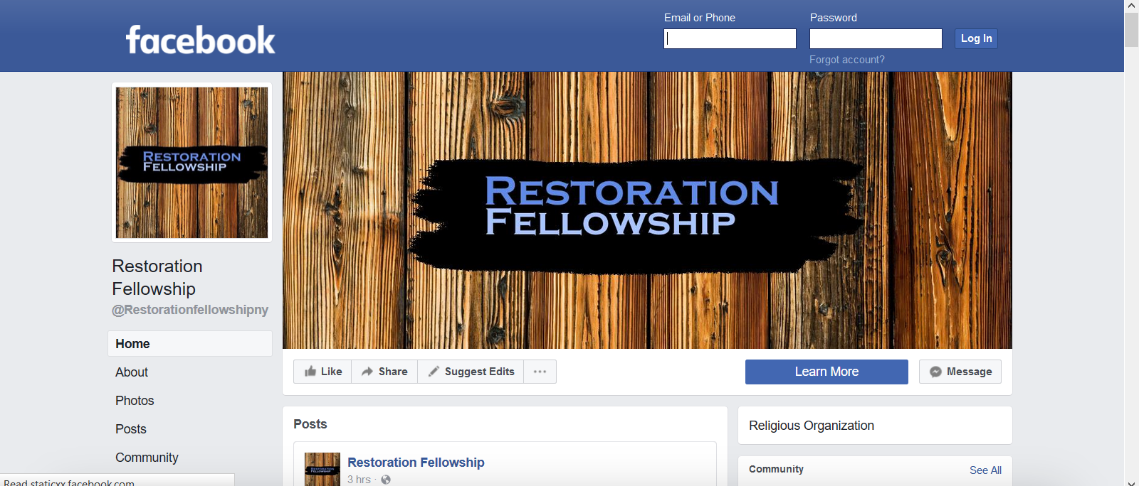 Restoration on Facebook We have a new page on Facebook. Visit us to find out the latest news and events and find links to Restoration Fellowship media, including Pastor David Harwood's new podcast: Love & War!